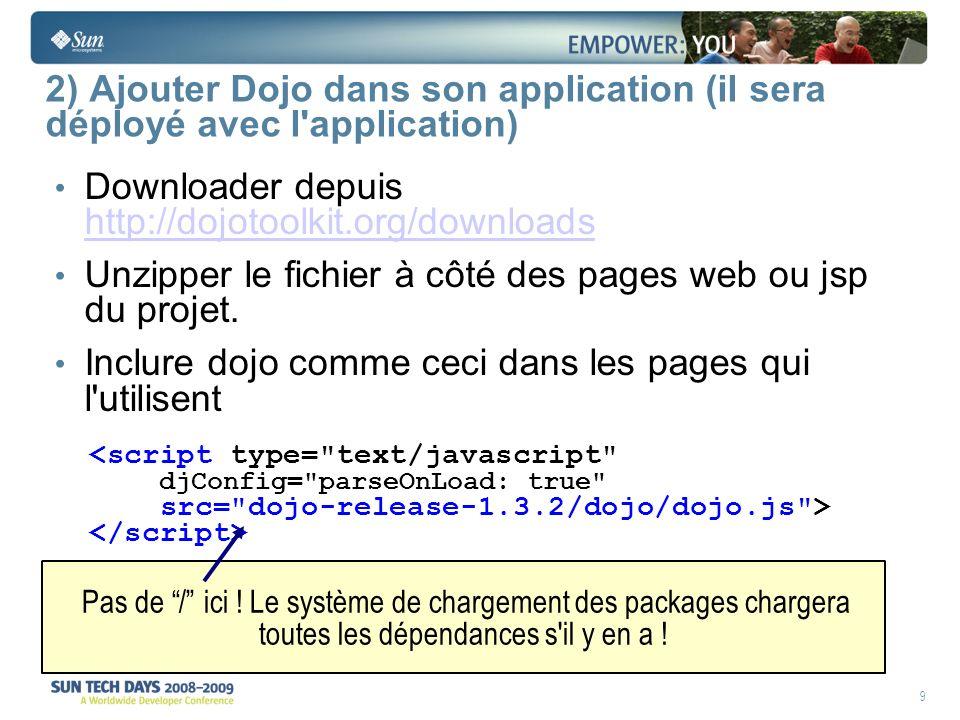 20 Exemple déclaratif de button @import js/dijit/themes/tundra/tundra.css ; @import js/dojo/resources/dojo.css ; <script type= text/javascript djConfig= parseOnLoad: true src= js/dojo/dojo.js > dojo.require( dijit.form.Button ); <button dojoType= dijit.form.Button onclick= call_function > Log Button Charger la CSS de Dijit Style/thème pour les widgets Charger le module Pour les widgets déclaratifs