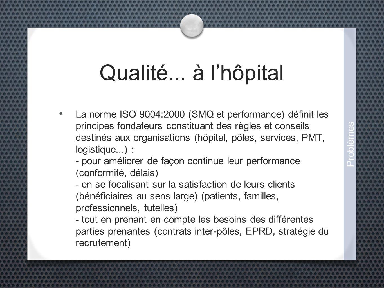 Qualité... à lhôpital La norme ISO 9004:2000 (SMQ et performance) définit les principes fondateurs constituant des règles et conseils destinés aux org