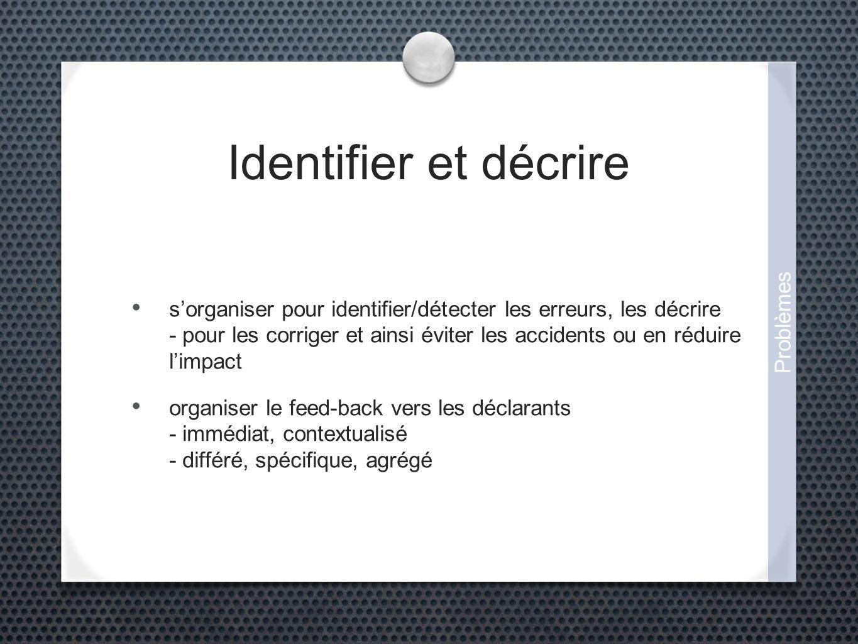Identifier et décrire sorganiser pour identifier/détecter les erreurs, les décrire - pour les corriger et ainsi éviter les accidents ou en réduire limpact organiser le feed-back vers les déclarants - immédiat, contextualisé - différé, spécifique, agrégé Problèmes