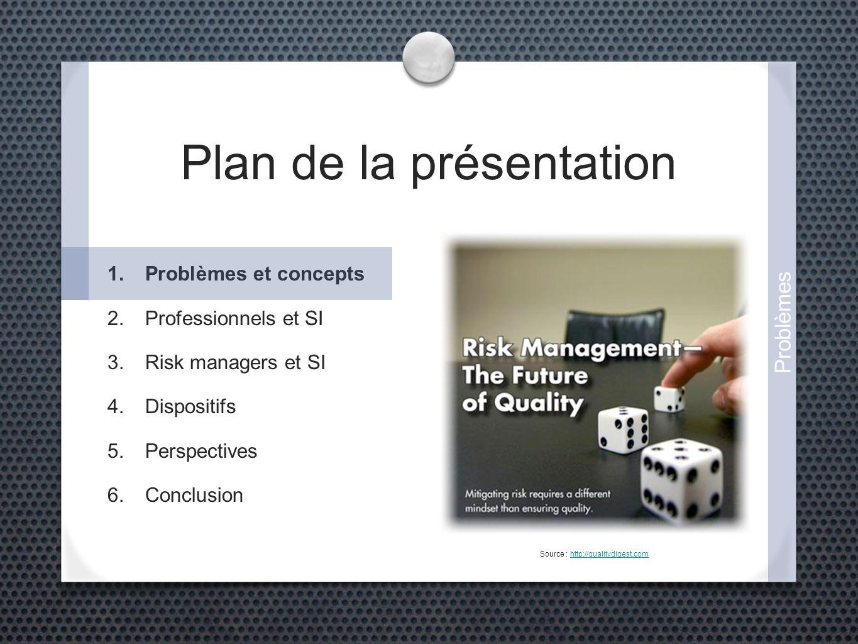 Plan de la présentation Source : http://qualitydigest.comhttp://qualitydigest.com 1.Problèmes et concepts 2.Professionnels et SI 3.Risk managers et SI
