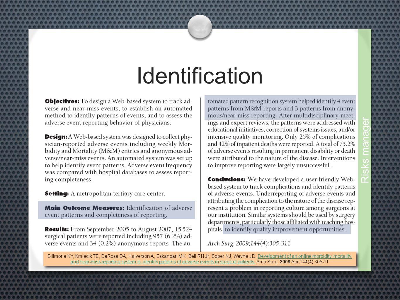 Identification Bilimoria KY, Kmiecik TE, DaRosa DA, Halverson A, Eskandari MK, Bell RH Jr, Soper NJ, Wayne JD. Development of an online morbidity, mor