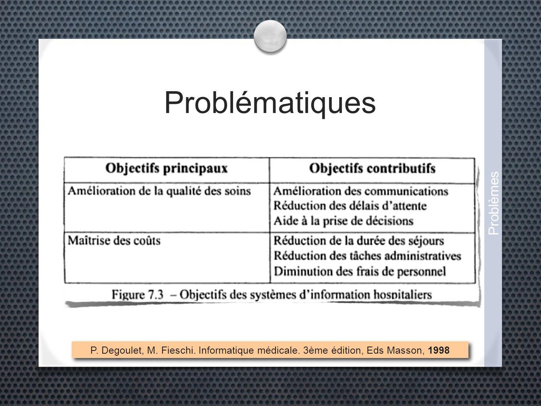 Problématiques P. Degoulet, M. Fieschi. Informatique médicale. 3ème édition, Eds Masson, 1998 Problèmes