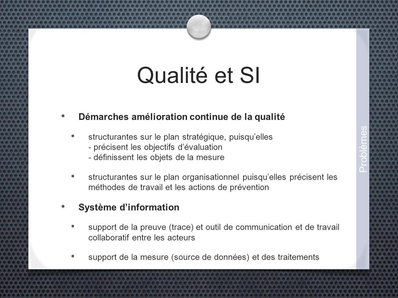 Qualité et SI Démarches amélioration continue de la qualité structurantes sur le plan stratégique, puisquelles - précisent les objectifs dévaluation -