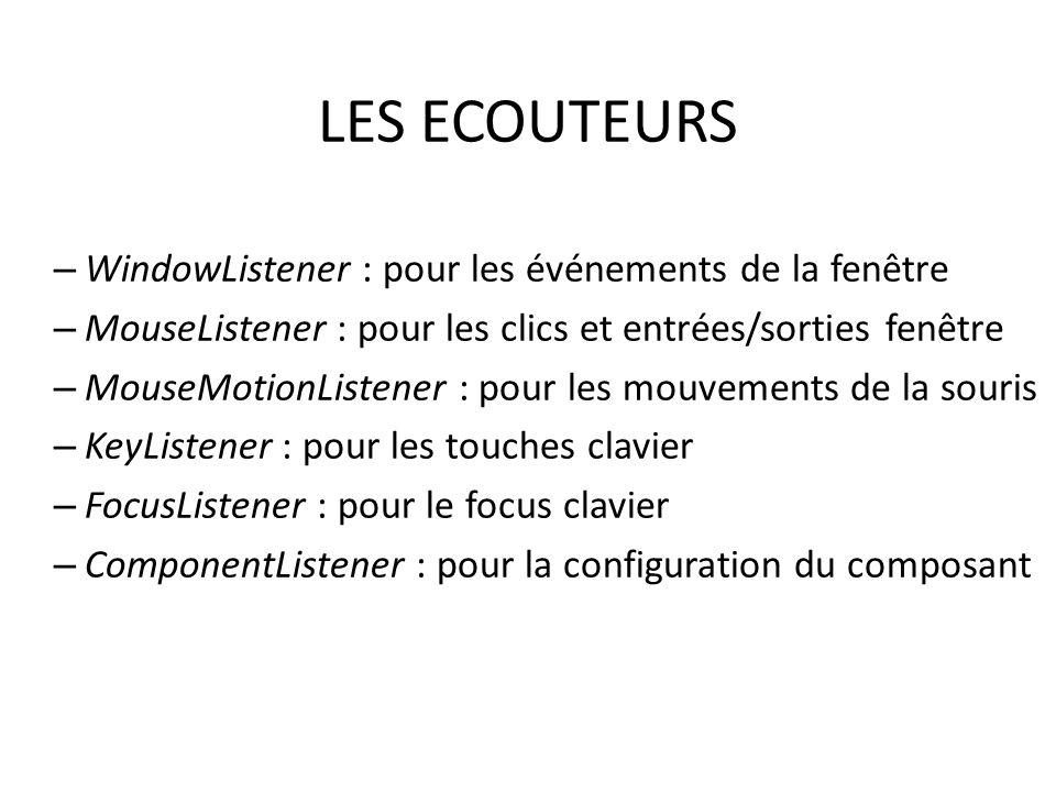 LES ECOUTEURS – WindowListener : pour les événements de la fenêtre – MouseListener : pour les clics et entrées/sorties fenêtre – MouseMotionListener :