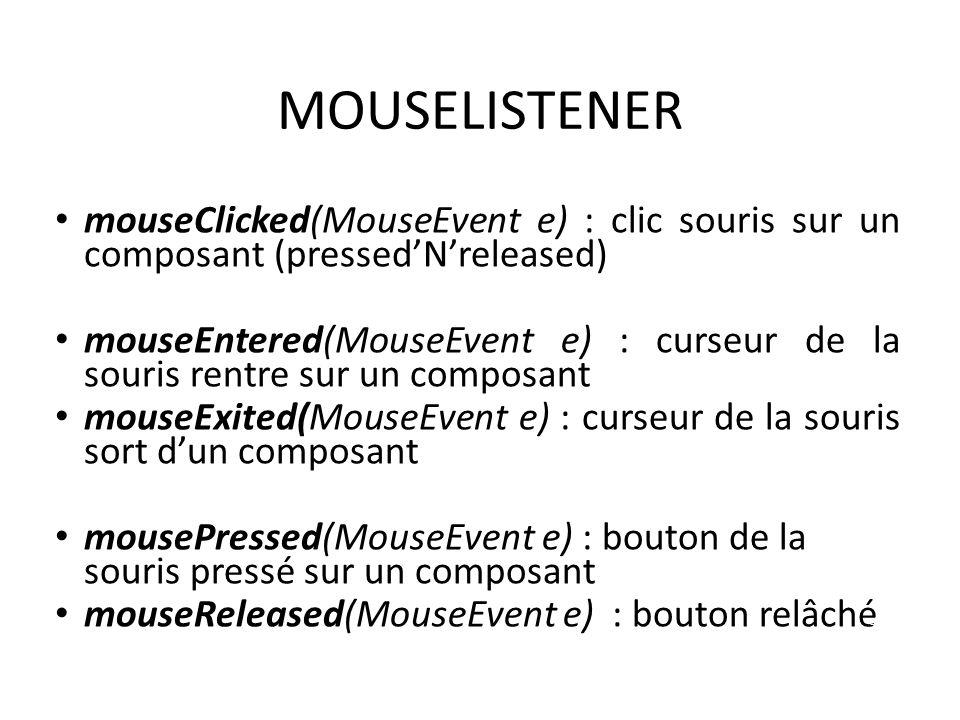MOUSELISTENER mouseClicked(MouseEvent e) : clic souris sur un composant (pressedNreleased) mouseEntered(MouseEvent e) : curseur de la souris rentre su