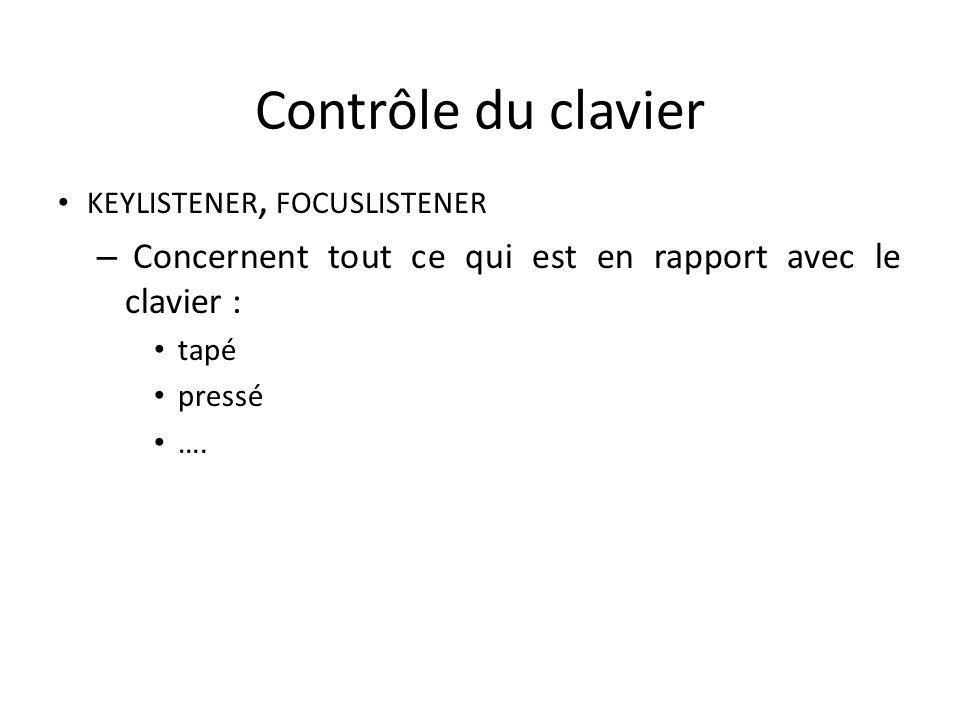 Contrôle du clavier KEYLISTENER, FOCUSLISTENER – Concernent tout ce qui est en rapport avec le clavier : tapé pressé …. 119