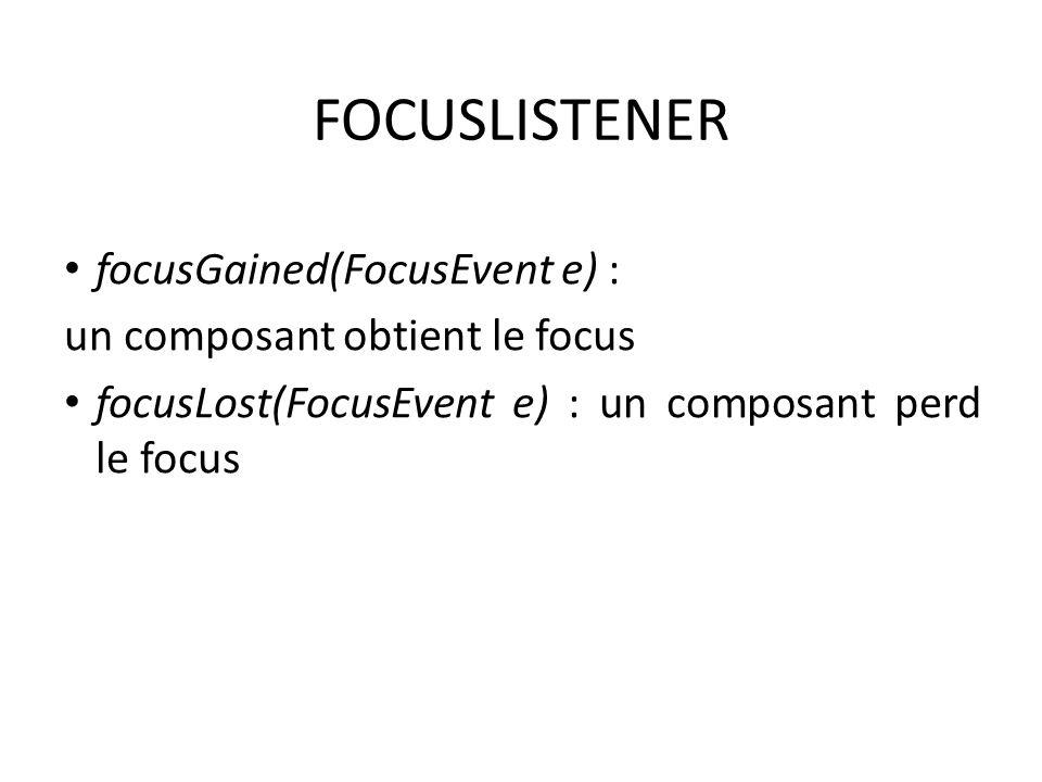 FOCUSLISTENER focusGained(FocusEvent e) : un composant obtient le focus focusLost(FocusEvent e) : un composant perd le focus 121