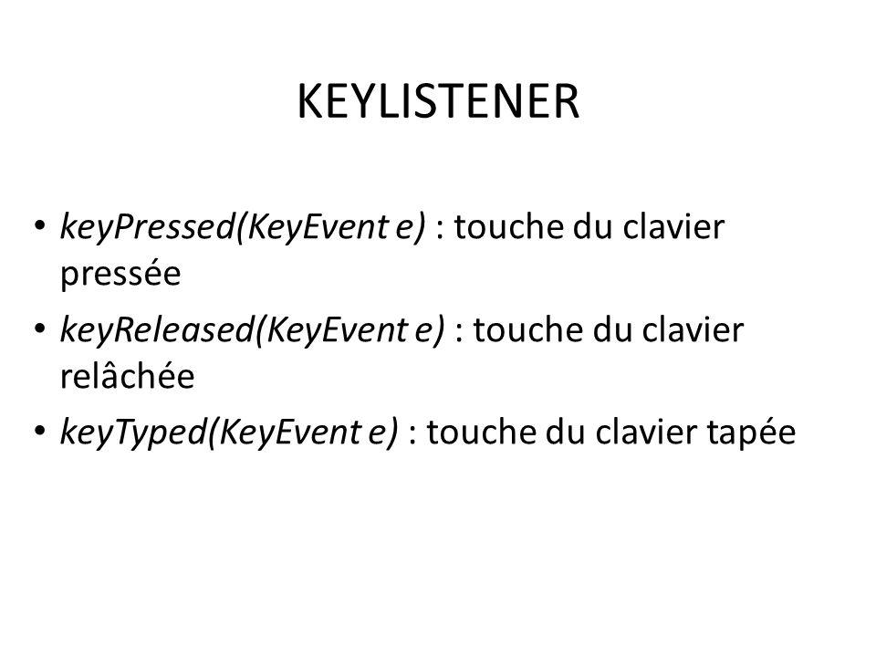 KEYLISTENER keyPressed(KeyEvent e) : touche du clavier pressée keyReleased(KeyEvent e) : touche du clavier relâchée keyTyped(KeyEvent e) : touche du c