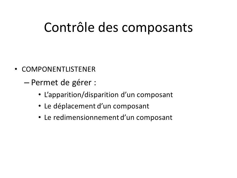 Contrôle des composants COMPONENTLISTENER – Permet de gérer : Lapparition/disparition dun composant Le déplacement dun composant Le redimensionnement