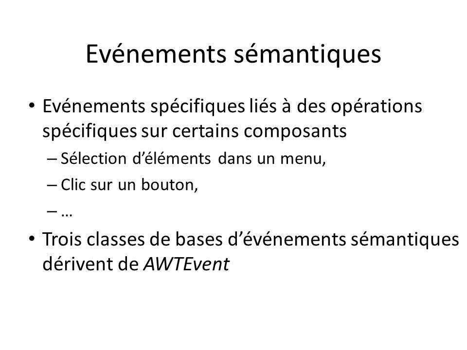 Evénements sémantiques Evénements spécifiques liés à des opérations spécifiques sur certains composants – Sélection déléments dans un menu, – Clic sur