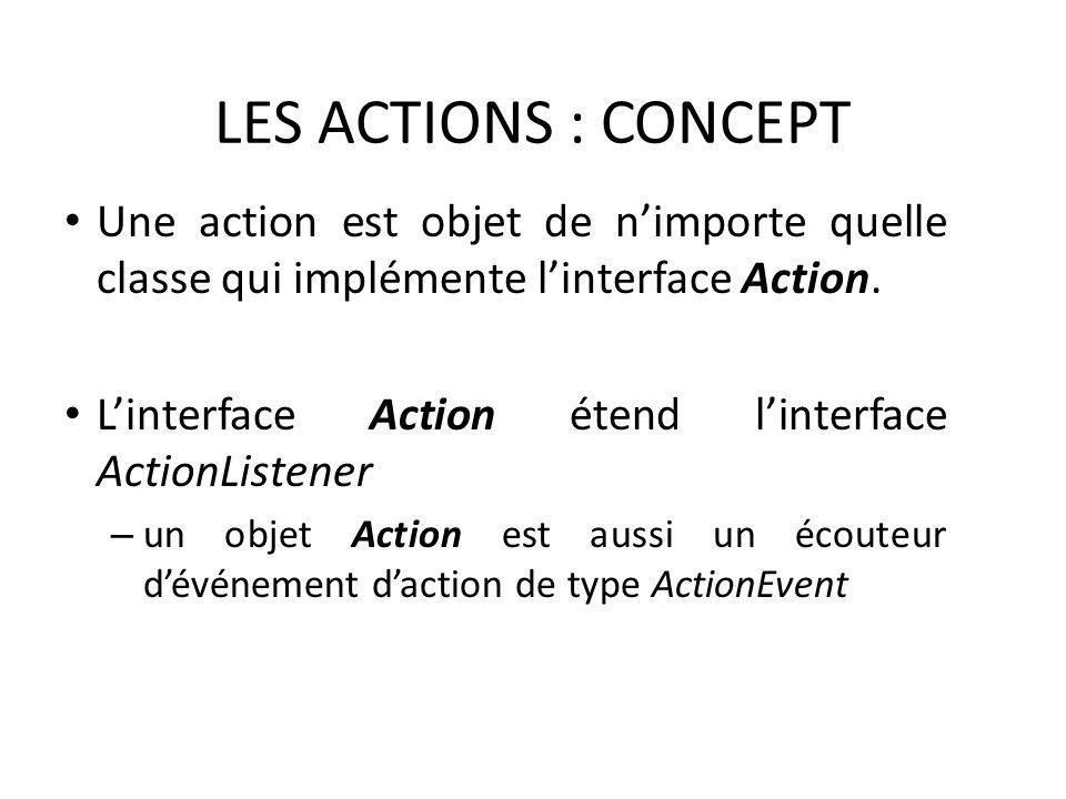 LES ACTIONS : CONCEPT Une action est objet de nimporte quelle classe qui implémente linterface Action. Linterface Action étend linterface ActionListen