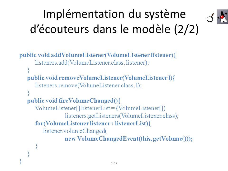 Implémentation du système découteurs dans le modèle (2/2) 173 public void addVolumeListener(VolumeListener listener){ listeners.add(VolumeListener.cla