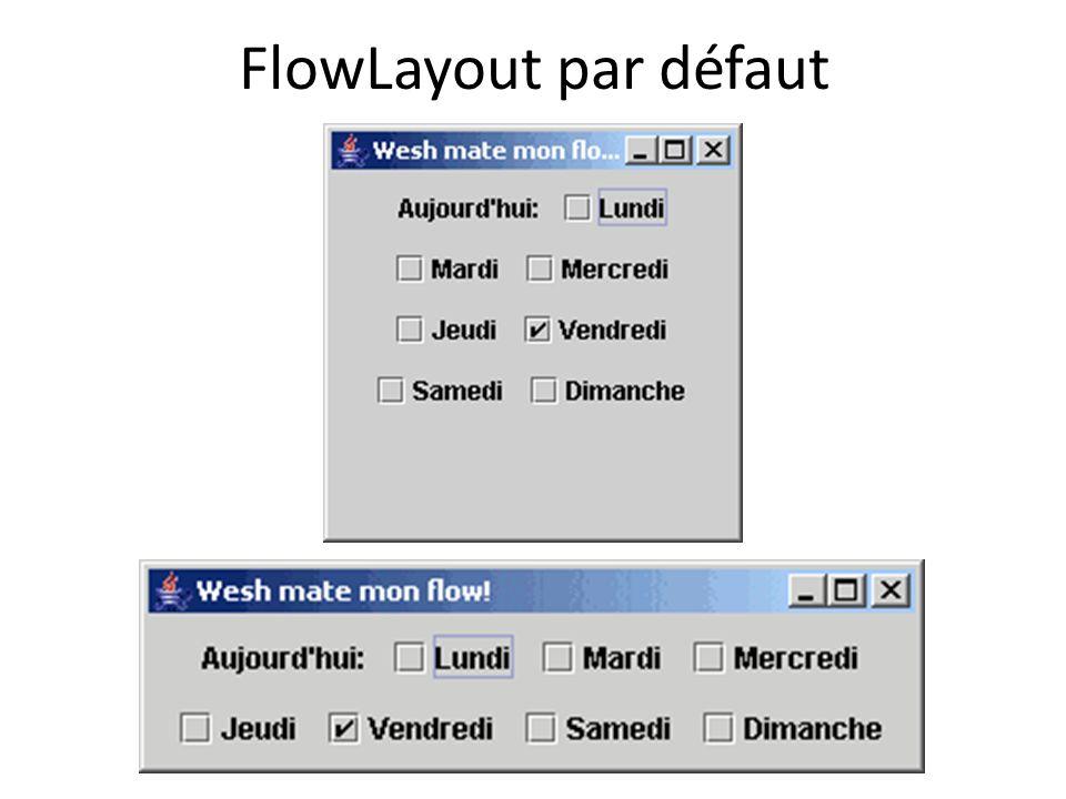 FlowLayout par défaut