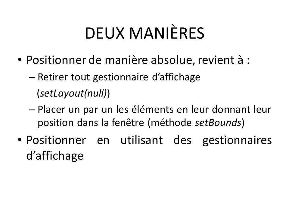 DEUX MANIÈRES Positionner de manière absolue, revient à : – Retirer tout gestionnaire daffichage (setLayout(null)) – Placer un par un les éléments en