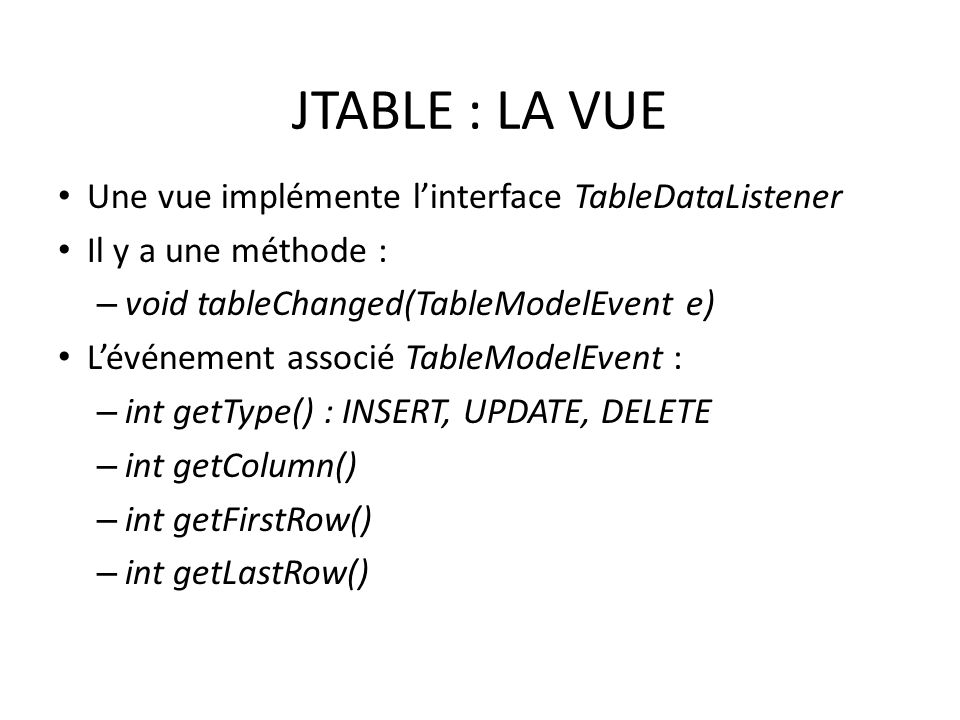 JTABLE : LA VUE Une vue implémente linterface TableDataListener Il y a une méthode : – void tableChanged(TableModelEvent e) Lévénement associé TableMo