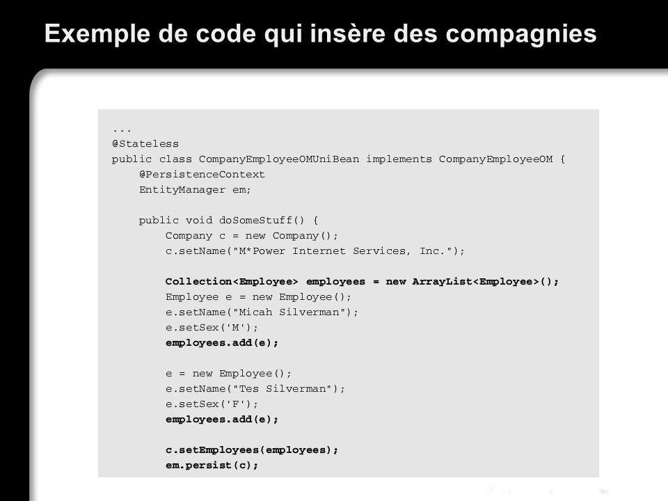 Exemple de code qui insère des compagnies