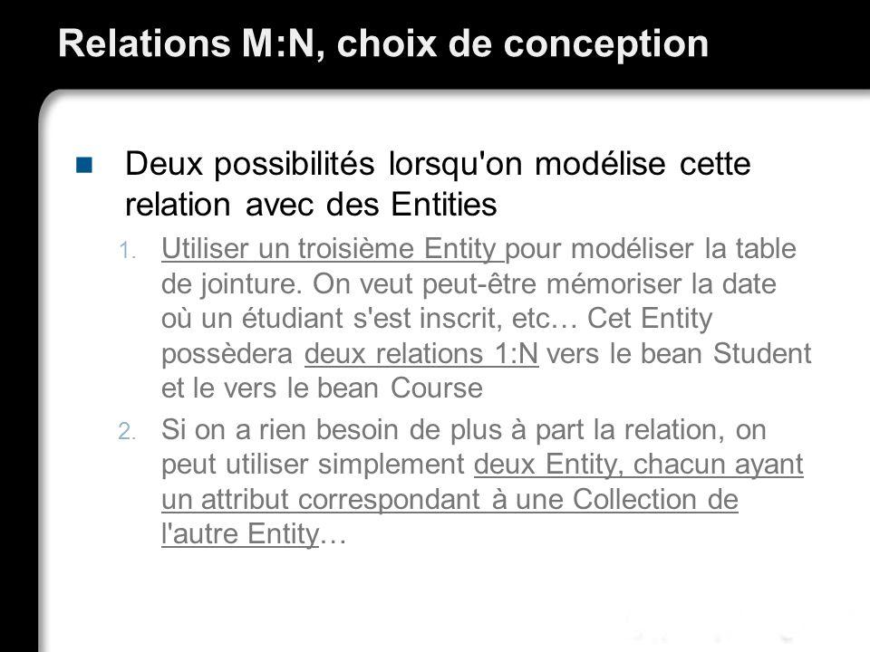 Relations M:N, choix de conception Deux possibilités lorsqu'on modélise cette relation avec des Entities 1. Utiliser un troisième Entity pour modélise