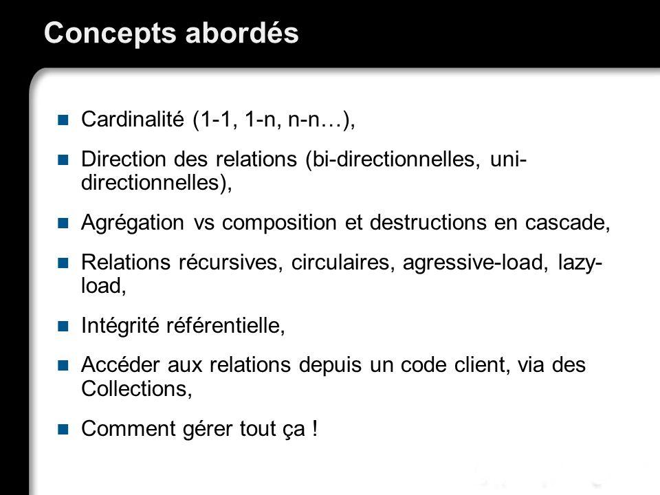 Concepts abordés Cardinalité (1-1, 1-n, n-n…), Direction des relations (bi-directionnelles, uni- directionnelles), Agrégation vs composition et destru