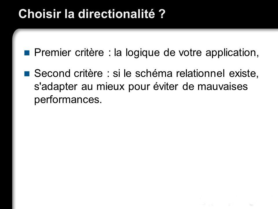 Choisir la directionalité ? Premier critère : la logique de votre application, Second critère : si le schéma relationnel existe, s'adapter au mieux po
