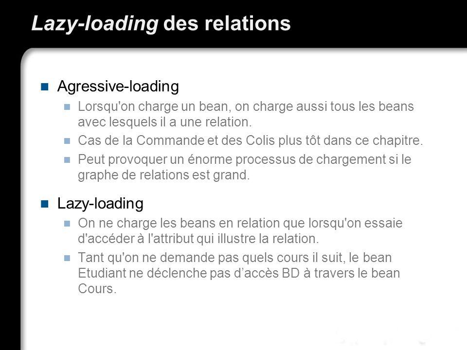 Lazy-loading des relations Agressive-loading Lorsqu'on charge un bean, on charge aussi tous les beans avec lesquels il a une relation. Cas de la Comma