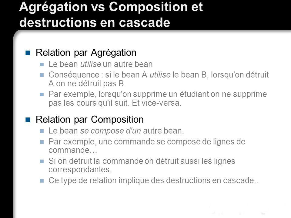 Agrégation vs Composition et destructions en cascade Relation par Agrégation Le bean utilise un autre bean Conséquence : si le bean A utilise le bean