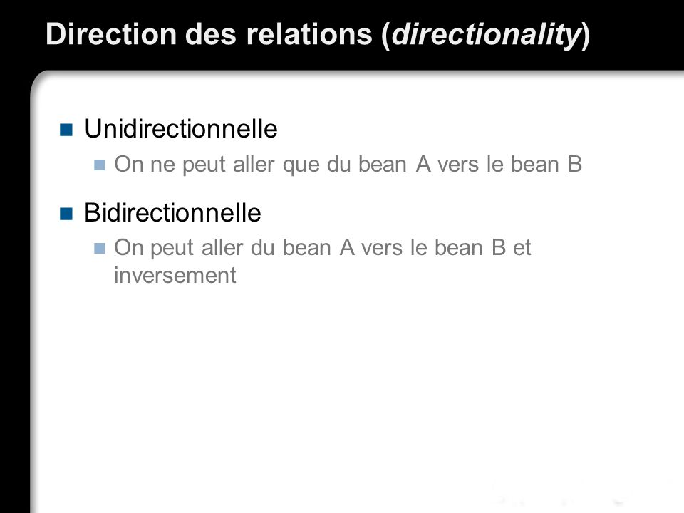 Direction des relations (directionality) Unidirectionnelle On ne peut aller que du bean A vers le bean B Bidirectionnelle On peut aller du bean A vers