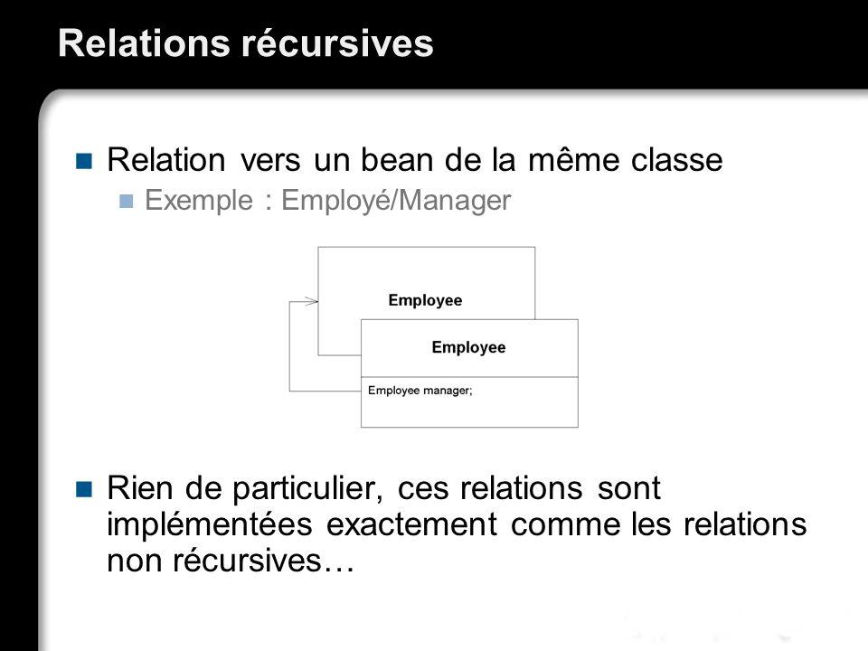 Relations récursives Relation vers un bean de la même classe Exemple : Employé/Manager Rien de particulier, ces relations sont implémentées exactement