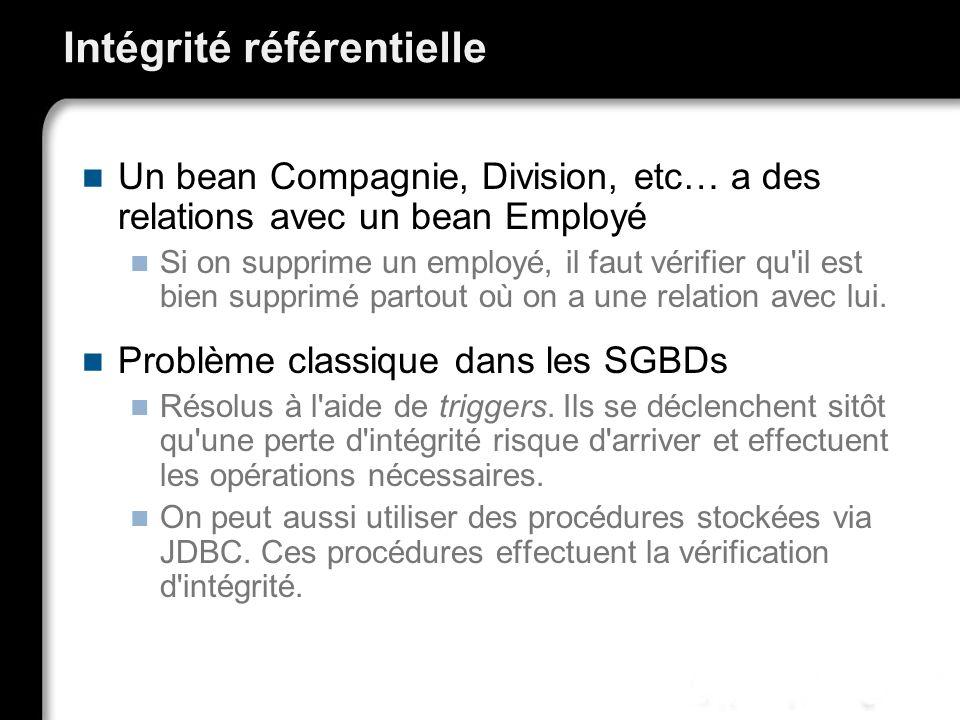 Intégrité référentielle Un bean Compagnie, Division, etc… a des relations avec un bean Employé Si on supprime un employé, il faut vérifier qu'il est b
