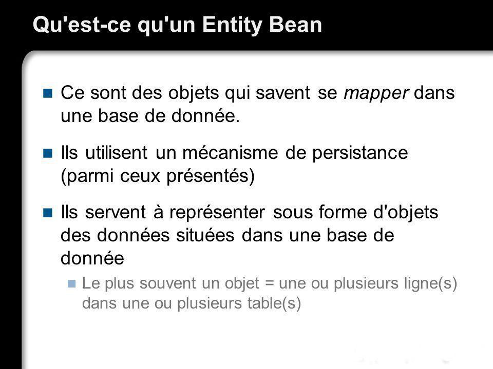 Qu'est-ce qu'un Entity Bean Ce sont des objets qui savent se mapper dans une base de donnée. Ils utilisent un mécanisme de persistance (parmi ceux pré