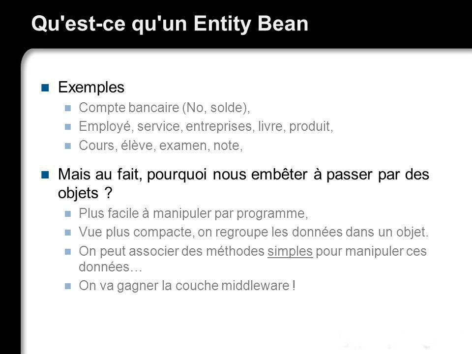 Qu'est-ce qu'un Entity Bean Exemples Compte bancaire (No, solde), Employé, service, entreprises, livre, produit, Cours, élève, examen, note, Mais au f
