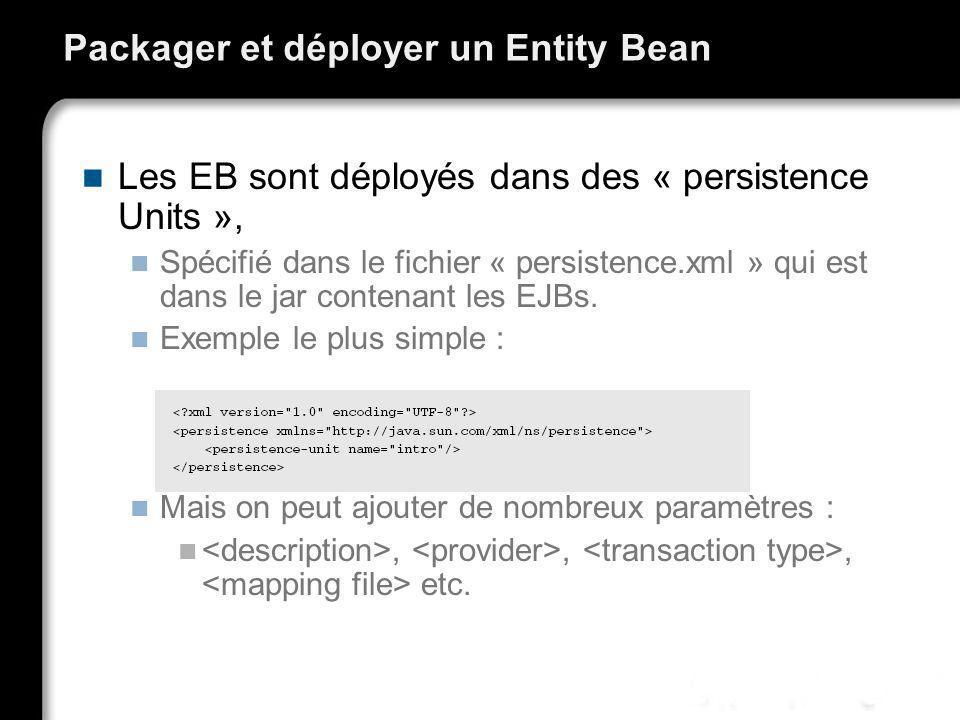 Packager et déployer un Entity Bean Les EB sont déployés dans des « persistence Units », Spécifié dans le fichier « persistence.xml » qui est dans le