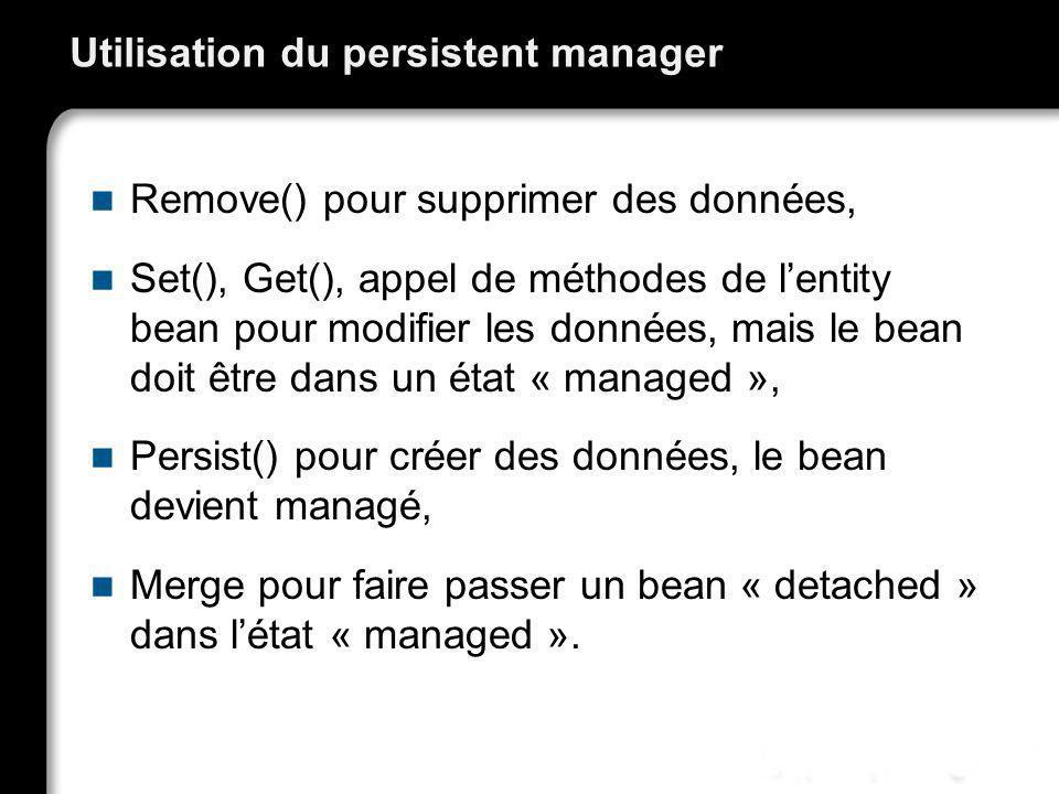 Utilisation du persistent manager Remove() pour supprimer des données, Set(), Get(), appel de méthodes de lentity bean pour modifier les données, mais