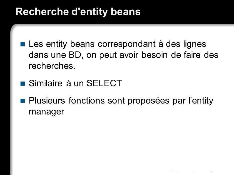 Recherche d'entity beans Les entity beans correspondant à des lignes dans une BD, on peut avoir besoin de faire des recherches. Similaire à un SELECT