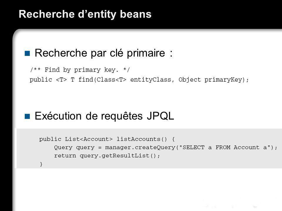 Recherche dentity beans Recherche par clé primaire : Exécution de requêtes JPQL