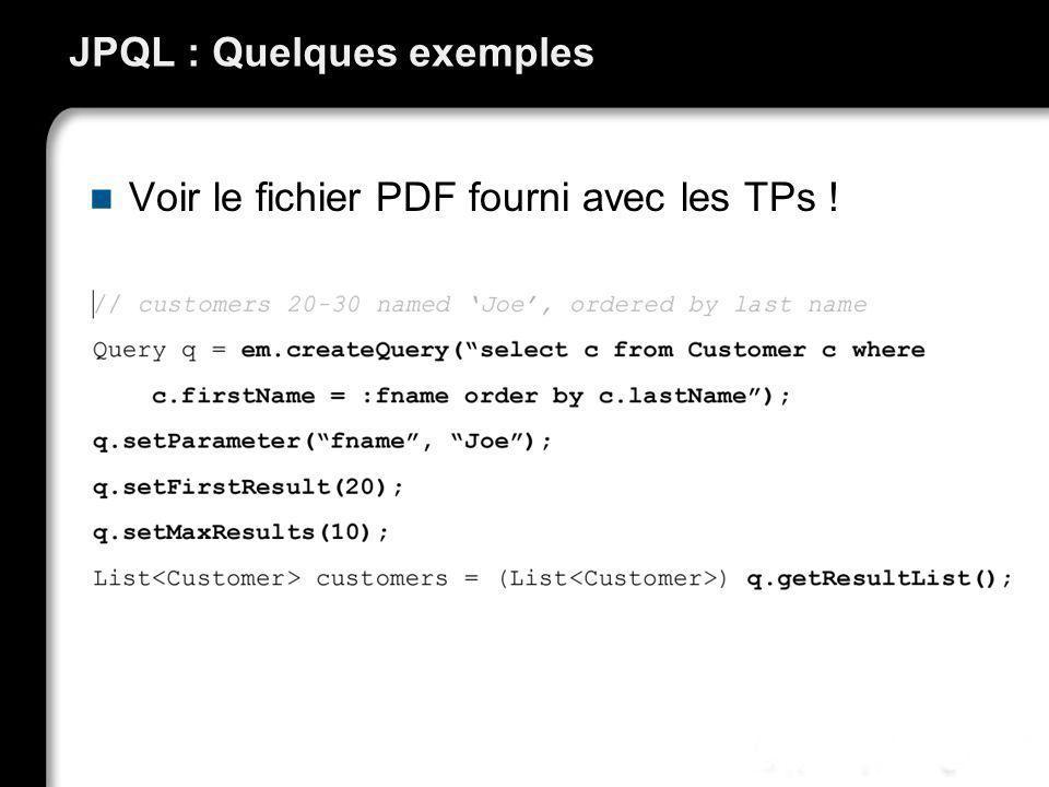 JPQL : Quelques exemples Voir le fichier PDF fourni avec les TPs !