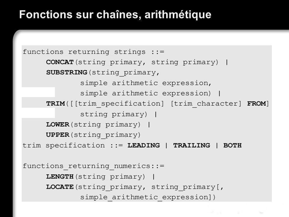 Fonctions sur chaînes, arithmétique