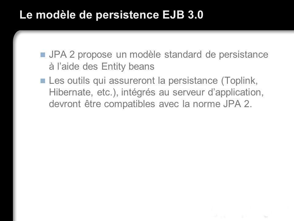 Le modèle de persistence EJB 3.0 JPA 2 propose un modèle standard de persistance à laide des Entity beans Les outils qui assureront la persistance (To