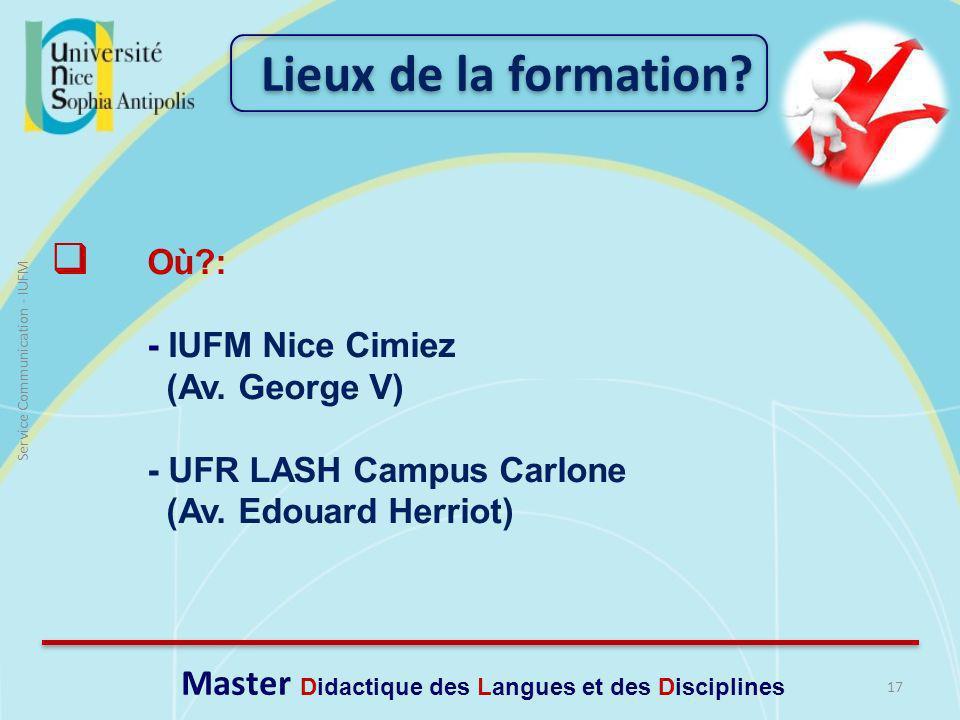 17 Service Communication - IUFM Où?: - IUFM Nice Cimiez (Av.
