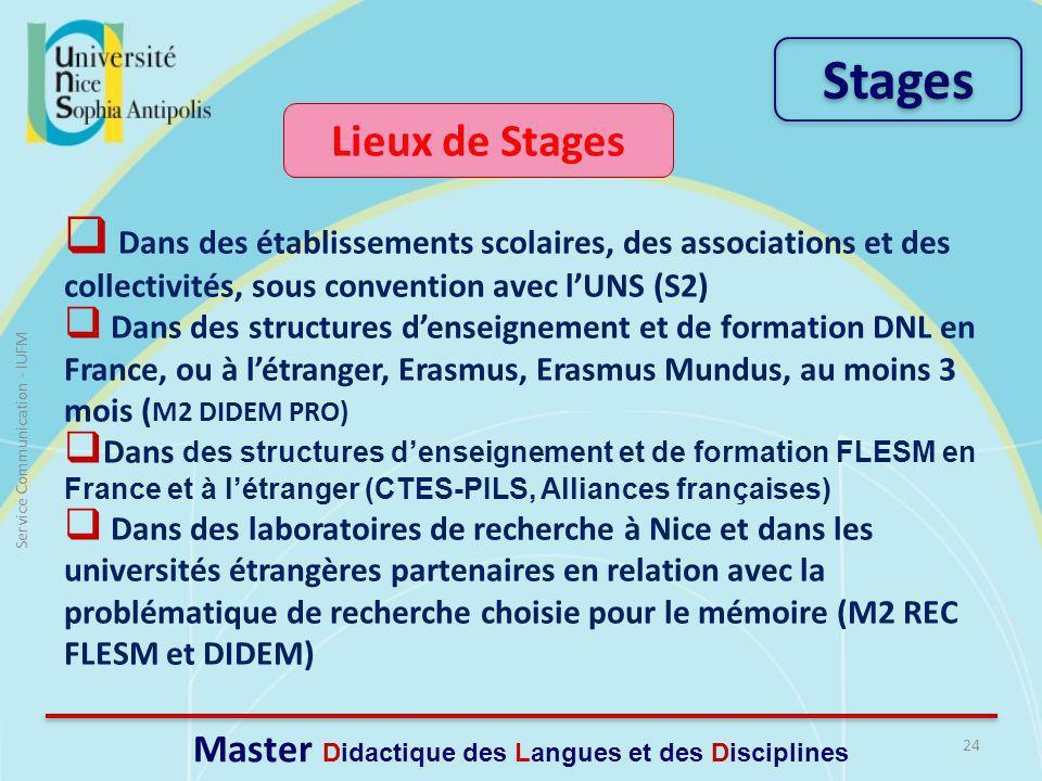 Lieux de Stages Dans des établissements scolaires, des associations et des collectivités, sous convention avec lUNS (S2) Dans des structures denseignement et de formation DNL en France, ou à létranger, Erasmus, Erasmus Mundus, au moins 3 mois ( M2 DIDEM PRO) Dans des structures denseignement et de formation FLESM en France et à létranger (CTES-PILS, Alliances françaises) Dans des laboratoires de recherche à Nice et dans les universités étrangères partenaires en relation avec la problématique de recherche choisie pour le mémoire (M2 REC FLESM et DIDEM) 24 Service Communication - IUFM Master Didactique des Langues et des Disciplines Stages