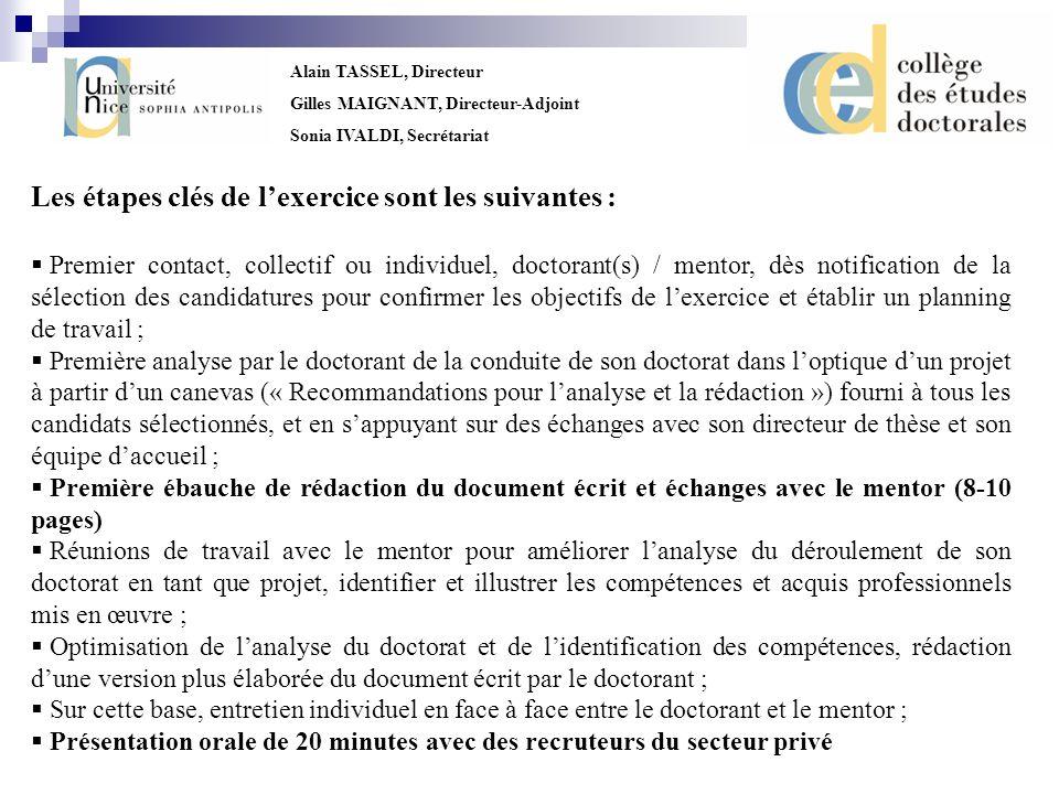 Alain TASSEL, Directeur Gilles MAIGNANT, Directeur-Adjoint Sonia IVALDI, Secrétariat Les étapes clés de lexercice sont les suivantes : Premier contact