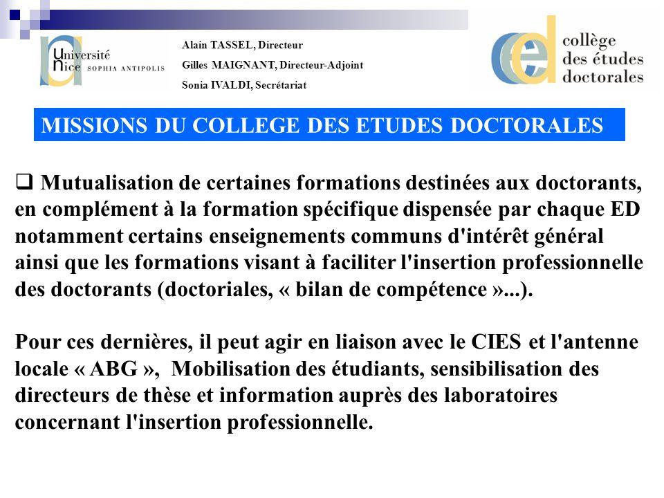 Alain TASSEL, Directeur Gilles MAIGNANT, Directeur-Adjoint Sonia IVALDI, Secrétariat Promotion des relations internationales en matière doctorale, en relation avec la Direction des Relations Internationales.