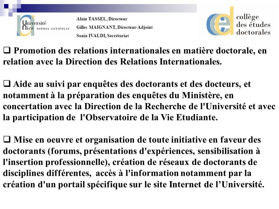 Alain TASSEL, Directeur Gilles MAIGNANT, Directeur-Adjoint Sonia IVALDI, Secrétariat Promotion des relations internationales en matière doctorale, en