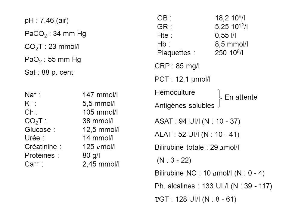pH : 7,46 (air) PaCO 2 : 34 mm Hg CO 2 T : 23 mmol/l PaO 2 : 55 mm Hg Sat : 88 p. cent Na + : 147 mmol/l K + : 5,5 mmol/l Cl - :105 mmol/l CO 2 T :38
