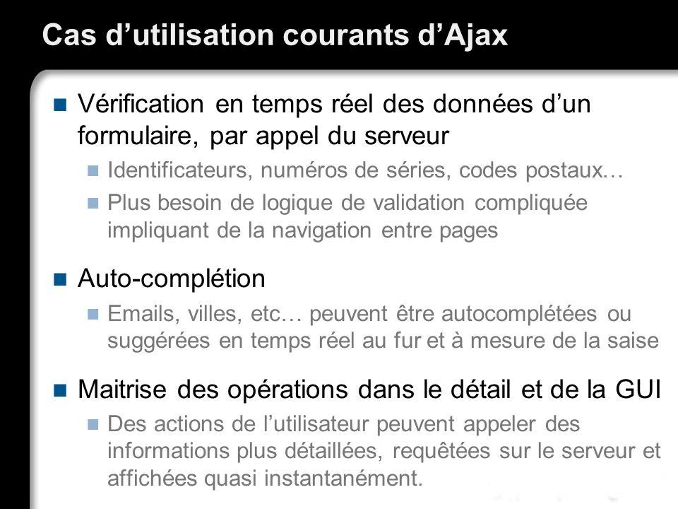 Cas dutilisation courants dAjax Vérification en temps réel des données dun formulaire, par appel du serveur Identificateurs, numéros de séries, codes