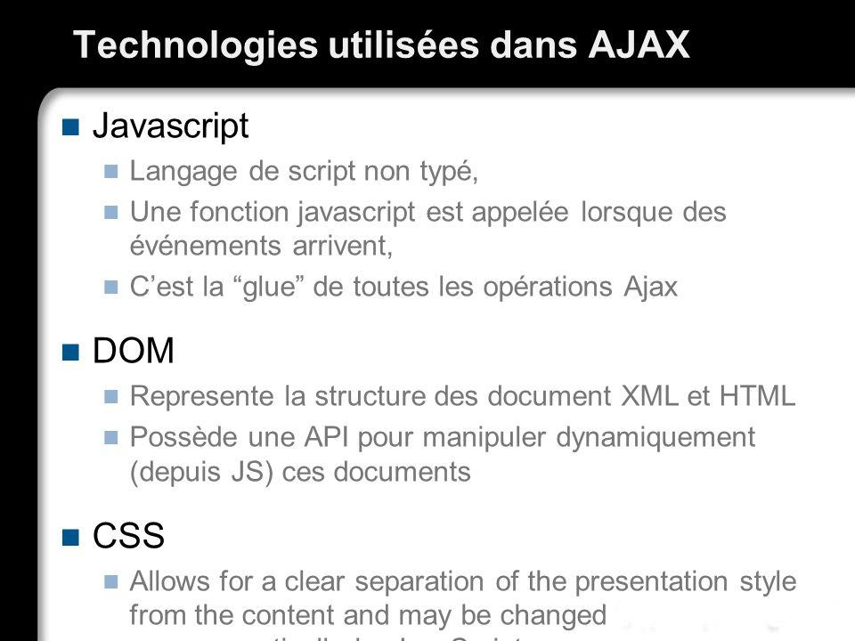 Technologies utilisées dans AJAX Javascript Langage de script non typé, Une fonction javascript est appelée lorsque des événements arrivent, Cest la g