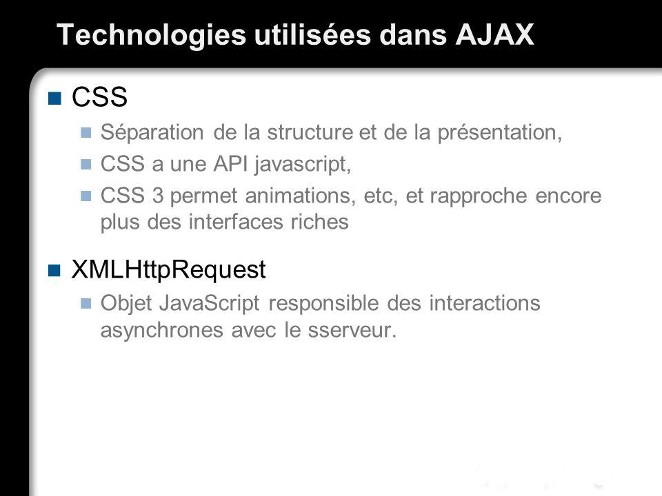 Technologies utilisées dans AJAX CSS Séparation de la structure et de la présentation, CSS a une API javascript, CSS 3 permet animations, etc, et rapp