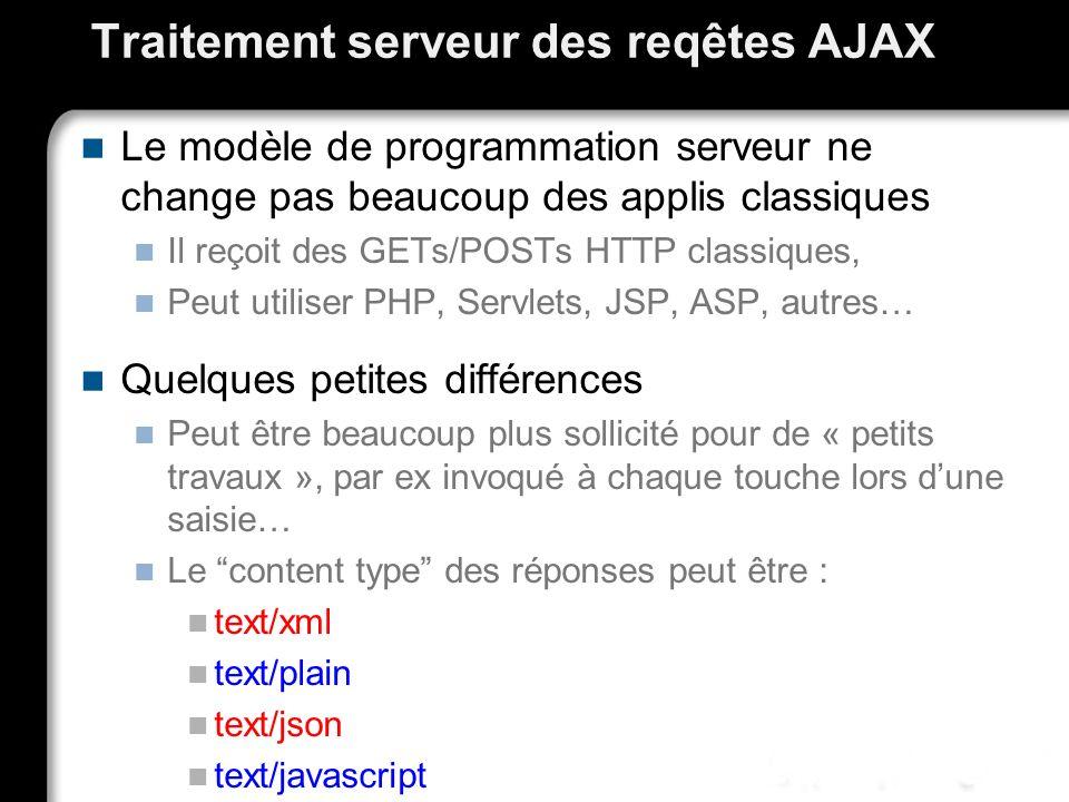 Traitement serveur des reqêtes AJAX Le modèle de programmation serveur ne change pas beaucoup des applis classiques Il reçoit des GETs/POSTs HTTP clas