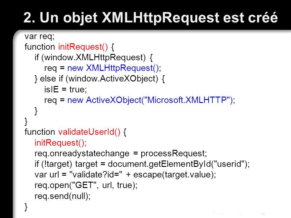 2. Un objet XMLHttpRequest est créé var req; function initRequest() { if (window.XMLHttpRequest) { req = new XMLHttpRequest(); } else if (window.Activ