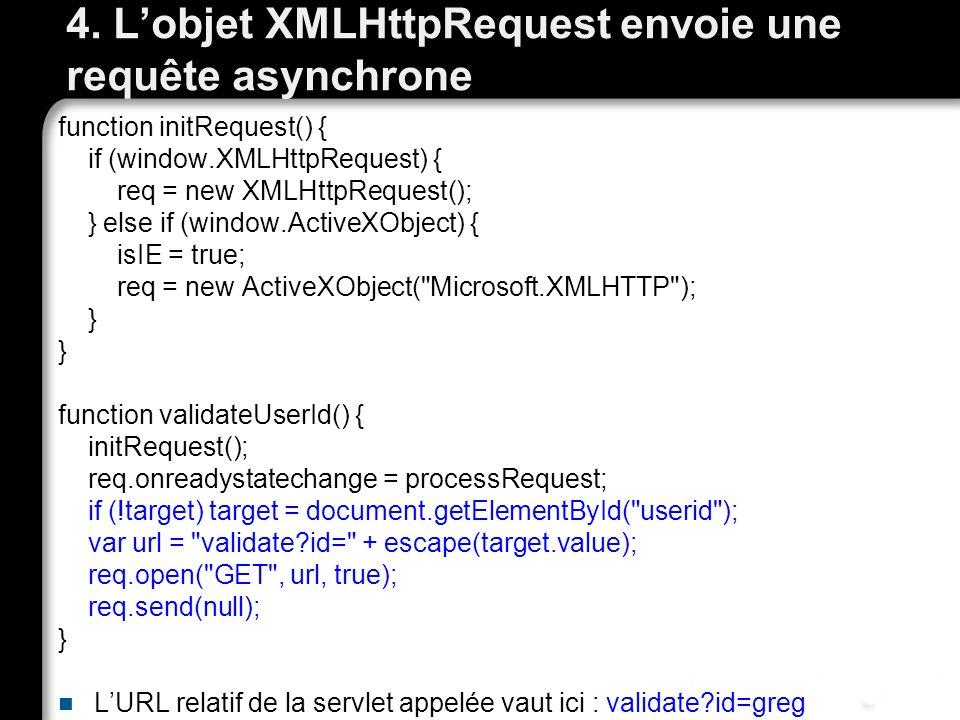 4. Lobjet XMLHttpRequest envoie une requête asynchrone function initRequest() { if (window.XMLHttpRequest) { req = new XMLHttpRequest(); } else if (wi