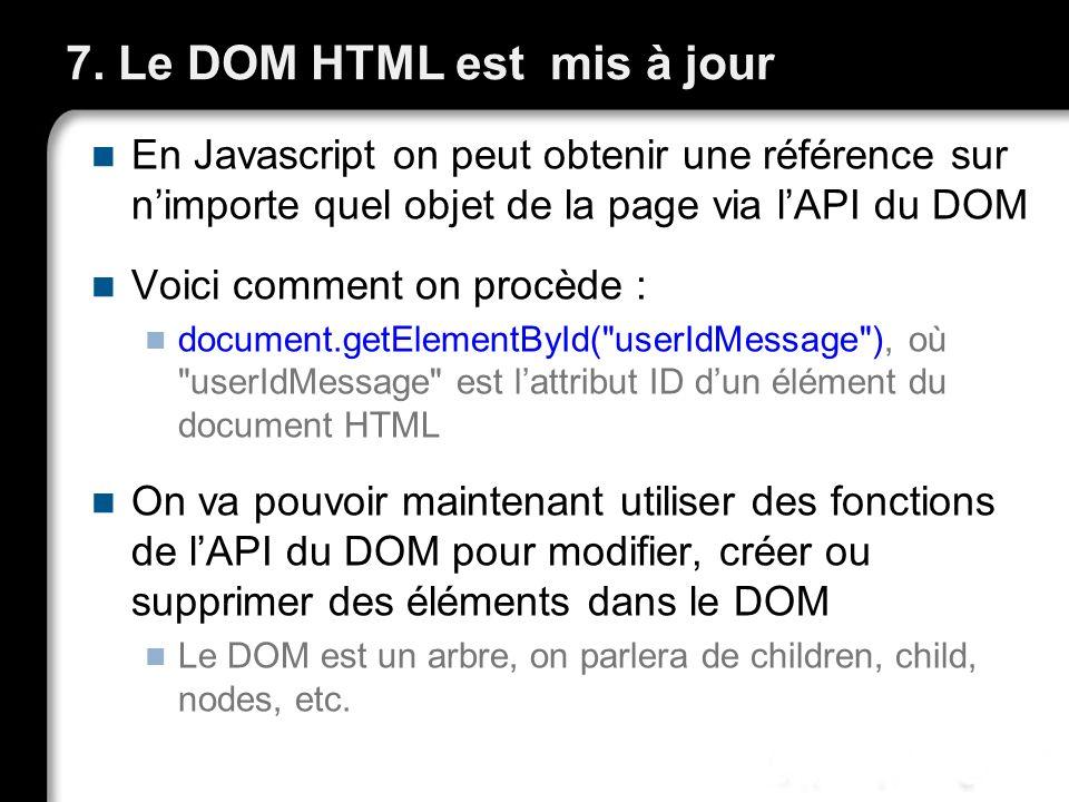 7. Le DOM HTML est mis à jour En Javascript on peut obtenir une référence sur nimporte quel objet de la page via lAPI du DOM Voici comment on procède